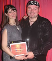 Deej and Trish with the 12th Night Award for Services to Regional Salsa 2008